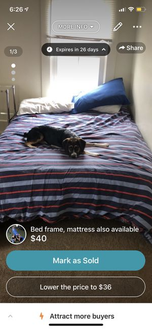 Bed frame size full (mattress available if needed) for Sale in Morgantown, WV