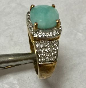 Jade ring set in yellow gold over silver with small diamonds for Sale in Selden, NY