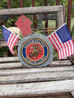 MARINE Corps Yard/Garden Faux Stone w/flags for Sale in Abilene, TX