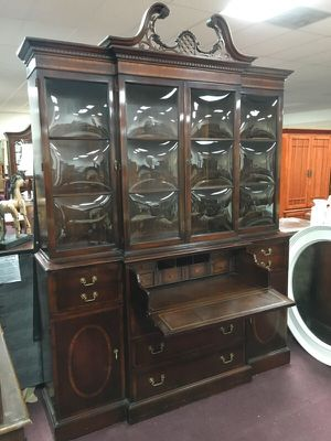 Vintage Beautiful bubble glass China cabinet with built in desk! for Sale in Manassas, VA