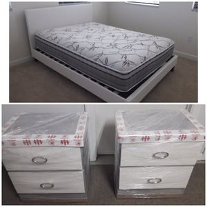 New queen bed frame and mattress and nightstands included for Sale in Lake Worth, FL