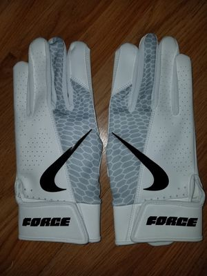 Brand New Nike Force Edge White Light Grey Batting Gloves Sizes Small, Medium, Large, XL for Sale in West Covina, CA
