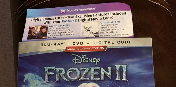 Frozen 2 movie digital code