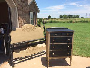 Antique full size bed frame and chest for Sale in Burkburnett, TX