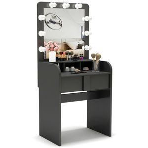 Tribesigns Vanity Table Set with Lighted Mirror, Make up Vanity Dressing Table with 9 Cool Light Bulb with Drawers for Bedroom Worth $200 for Sale in Anaheim, CA