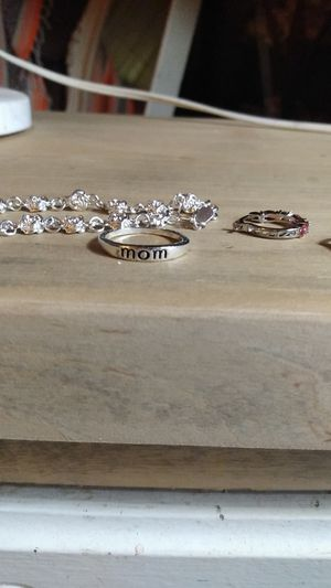 "Silver ""rose"" bracelet and ""mom"" ring and pink and diamond hoop earrings for Sale in San Antonio, TX"