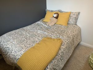Full size mattress, box spring, bed skirt at mattress protector for Sale in San Diego, CA