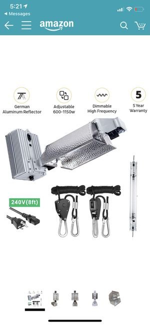 1000w HPS GROW LIGHT KIT , Includes bulb, & rope ratchets for Sale in Los Angeles, CA