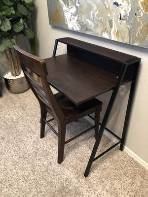 Cute Two Tier Brown Desk with metal frame and brown wood chair for Sale in Gilbert, AZ