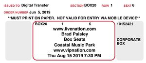Brad Paisley VIP concert tickets for Sale in Raleigh, NC