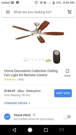 Home Decorators Collection Ceiling Fanj Light Kit Remote Control for Sale in Los Angeles, CA