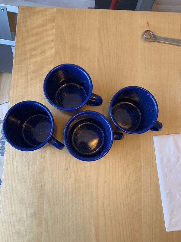 Set Of 4 Enamel Mugs, New