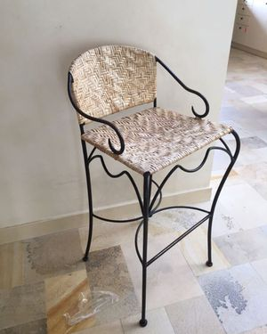 Designer Wrought Iron Rattan Bar Stool for Sale in San Francisco, CA