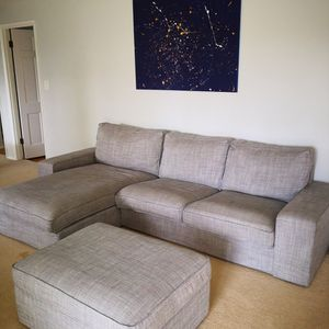 **PENDING** IKEA Sectional and ottoman KIVIC White/Black (Gray) for Sale in Bellevue, WA