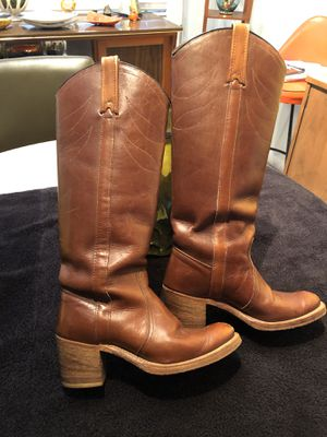 Miss Capezio Brown Leather Tall Western Boots Womens Size 6 M for Sale in Punta Gorda, FL