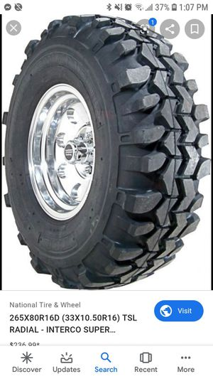2 tsl 33inch tires used on 16inch chevy 8 bolts for Sale in Mitchell, SD