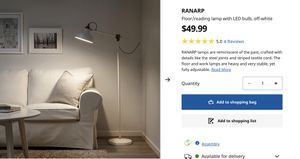 IKEA Sliver Floor/reading lamp with LED bulb for Sale in Seattle, WA