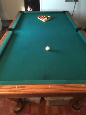 8' Foot Solid Slate Pool Table + Accessories Bundle w/ Pool Cues for Sale for sale  New York, NY