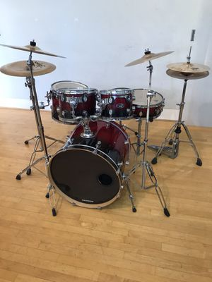 PDP LX 5 piece red fade drum set drums kit Zildjian matching ZBT cymbals pearl HH & Bass Pedal As pictured $650 in Ontario 91762 for Sale in Chino, CA