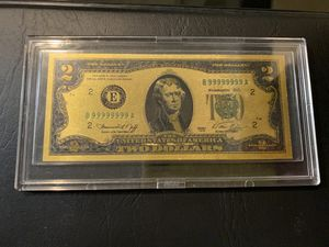 24k gold plated $2 bill with display case for Sale in Sanger, CA