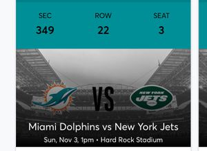Dolphins VS Jets game with parking pass for Sale in Port St. Lucie, FL