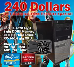 Super Budget Friendly Gaming Computer! Only 240.00 for a Gaming PC with a 4th Gen Core i5 and a 4 gig RX 560 Video Card! Windows 10 - No Trades! for Sale in Grand Prairie, TX
