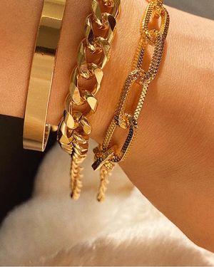 Punk Style 3pcs/Set Curb Cuban Multilayer Link chain bracelet, Gold Color for Sale in Irvine, CA