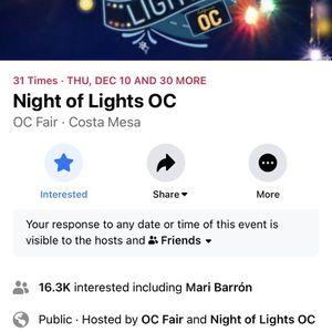 TICKETS FOR OC NIGHTLIGHTS for Sale in Santa Ana, CA