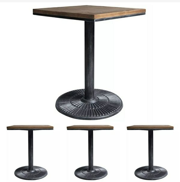 "NEW - IN-BOX - FOUR (4) - 24"" SQUARE PINE WOOD/GREY METAL TALIA INDUSTRIAL RESTAURANT STYLE 2-4 SEAT DINING TABLE"