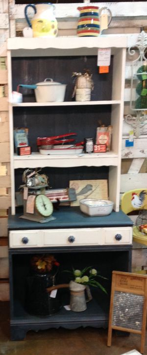 Wood White and Farmhouse Blue 2 Piece Hutch/Coffee Bar for Sale in Mount Plymouth, FL
