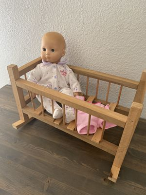 American girl bitty baby doll and cradle for Sale in Brentwood, CA