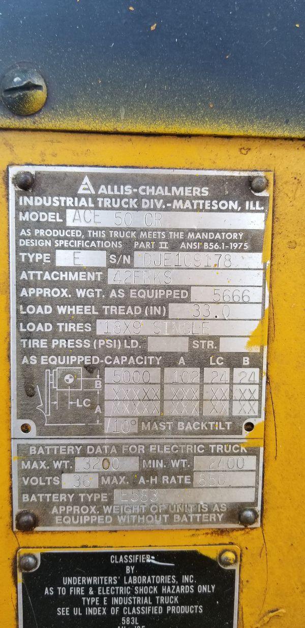 Allis Chalmers 5k electric warehouse forklift
