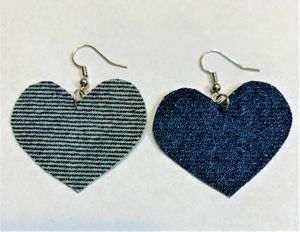 Heart Denim Dangle Earring very cute for Matching for Mom and Daughter for Sale in Peoria, IL