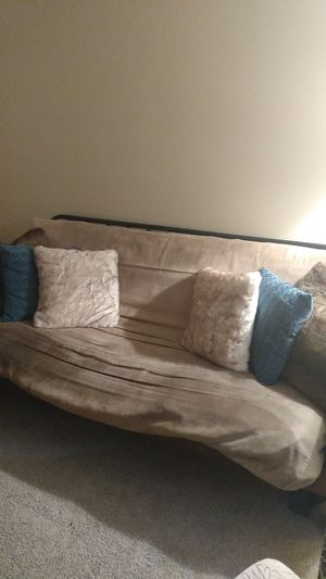 Wooden futon with taupe cover. for Sale in Ocoee, FL