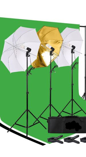 Photography Studio Backdrop Stand Umbrella Continuous Lighting Kit with Clamps for Sale in Sacramento, CA