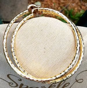 """RADIANT NEW"" DIAMOND-CUT LARGE HOOP (60MM) 14K GOLD FILLED EARRINGS. for Sale in Houston, TX"