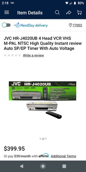 JVC HR-J4020UB 4 Head VCR VHS M-PAL NTSC High Quality Instant review Auto SP/EP Timer With Auto Voltage for Sale in Houston, TX