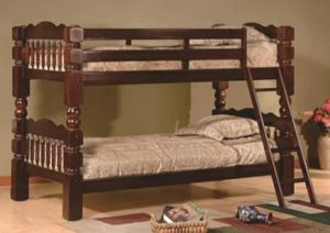 Columbus Day Special- [SPECIAL] Cory Cherry Twin over Twin Bunk Bed for Sale in Houston, TX