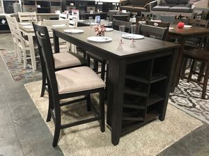 Ashley Furniture Counter Height Dining Set, Rustic Brown Finish for Sale in Santa Ana, CA