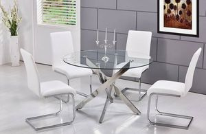 CONTEMPORARY ROUND GLASS TOP 5 PIECE DINING TABLE SET WHITE CHAIRS for Sale in Fontana, CA