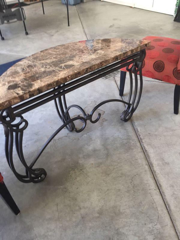 Marble wrought iron sofa table