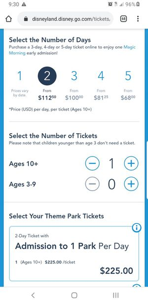 Admission Ticket Disneyland California for Sale in Laton, CA