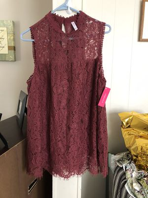 Burgundy lace blouse. Large for Sale in Cicero, IL