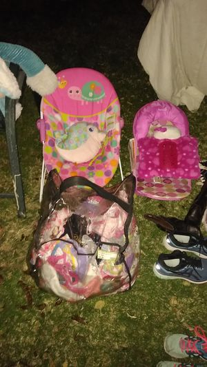 Baby seats clothes toys shoes stuffed animals and lots of miscellaneous toys games learning games diapers the list goes on and on for Sale in Glendale, AZ