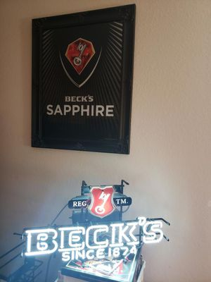 Becks Neon light and Becks sign with black crown mold frame for Sale in Tamarac, FL