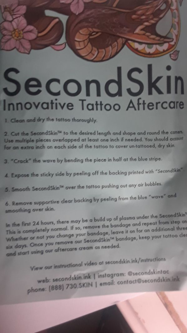 SecondSkin Tattoo Aftercare