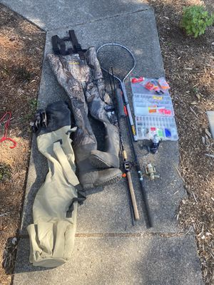 Mossy Oak size 9 waders, 2 fishing poles, fishing net, rod and reel bag, fishing supplies and containers for Sale in Vancouver, WA