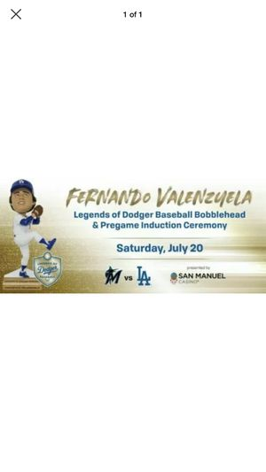 Los Angeles Dodgers Tickets 7/20/19 - Fernando Valenzuela Bobblehead SGA for Sale in Alhambra, CA