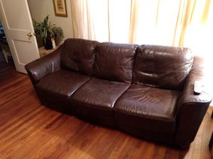 Couch leather brown for Sale in Durham, NC