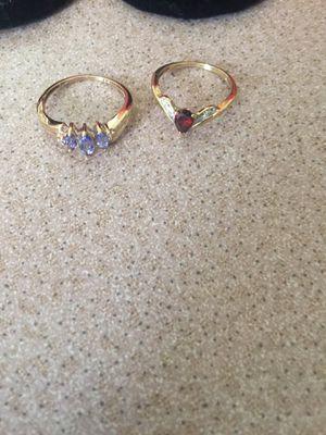 10k yellow gold Ladies ring ( Lot of 2) Gold Natural .33ctw Tanzanite & Diamond & 25ct Garnet Solitaire for Sale in Costa Mesa, CA
